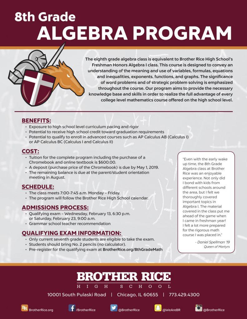 Eighth Grade Algebra Program | Brother Rice High School